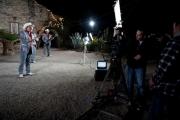 """El """"crew"""" filmando una toma de noche en Los Angeles para el video del tema """"Delirando."""""""